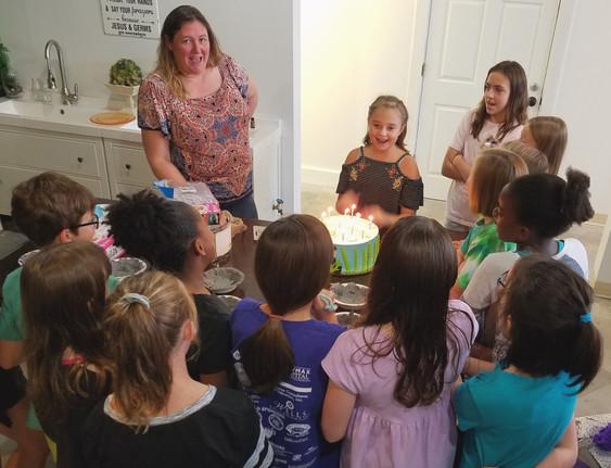Kids celebrate a birthday at The Devilish Egg