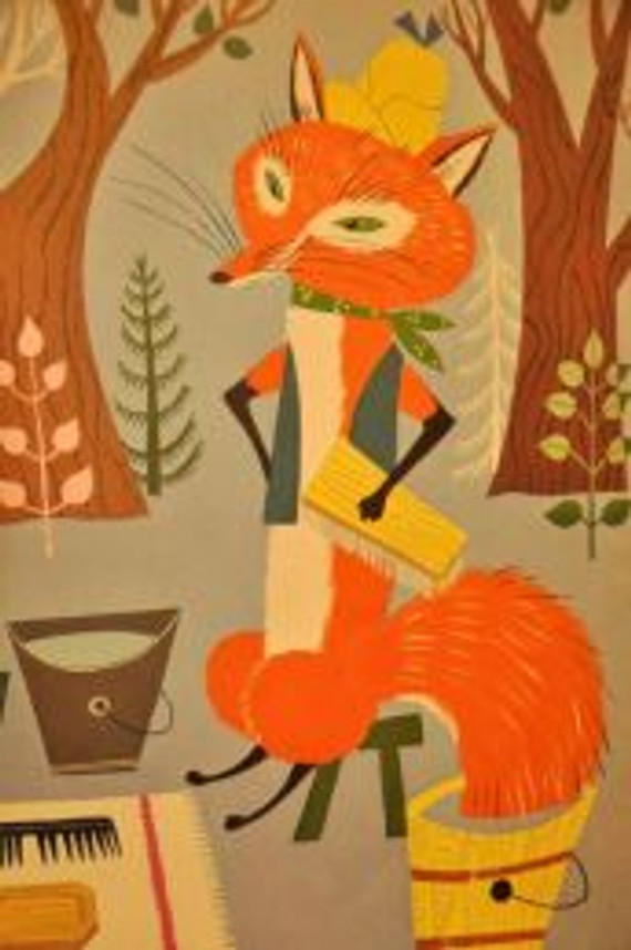 Vintage children's illustration fox