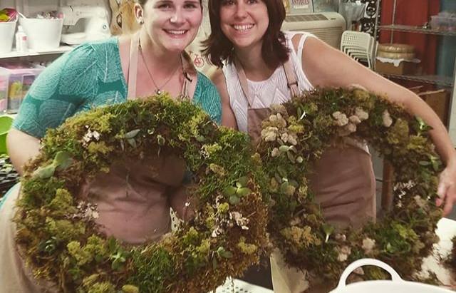 Beautiful succulent wreaths last night! #hatchyourcreativity #showsomelocallove #makestuff #raleighc