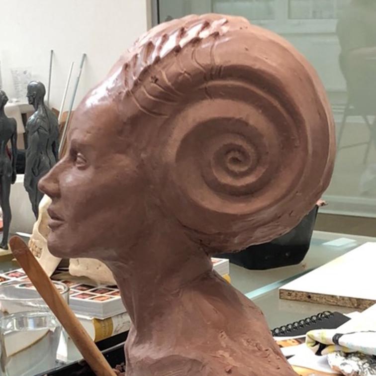 Character sculpture in progress - side