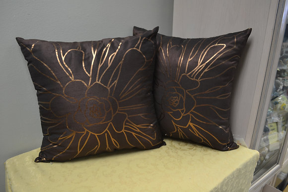 Faux Silk Bronze and Brown Pillow