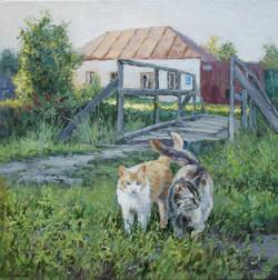 ,,У старого мостика,, х.м 45х45 2014г.