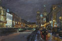 ,,Огни Питербурга,, х.м 60х90 2017г.