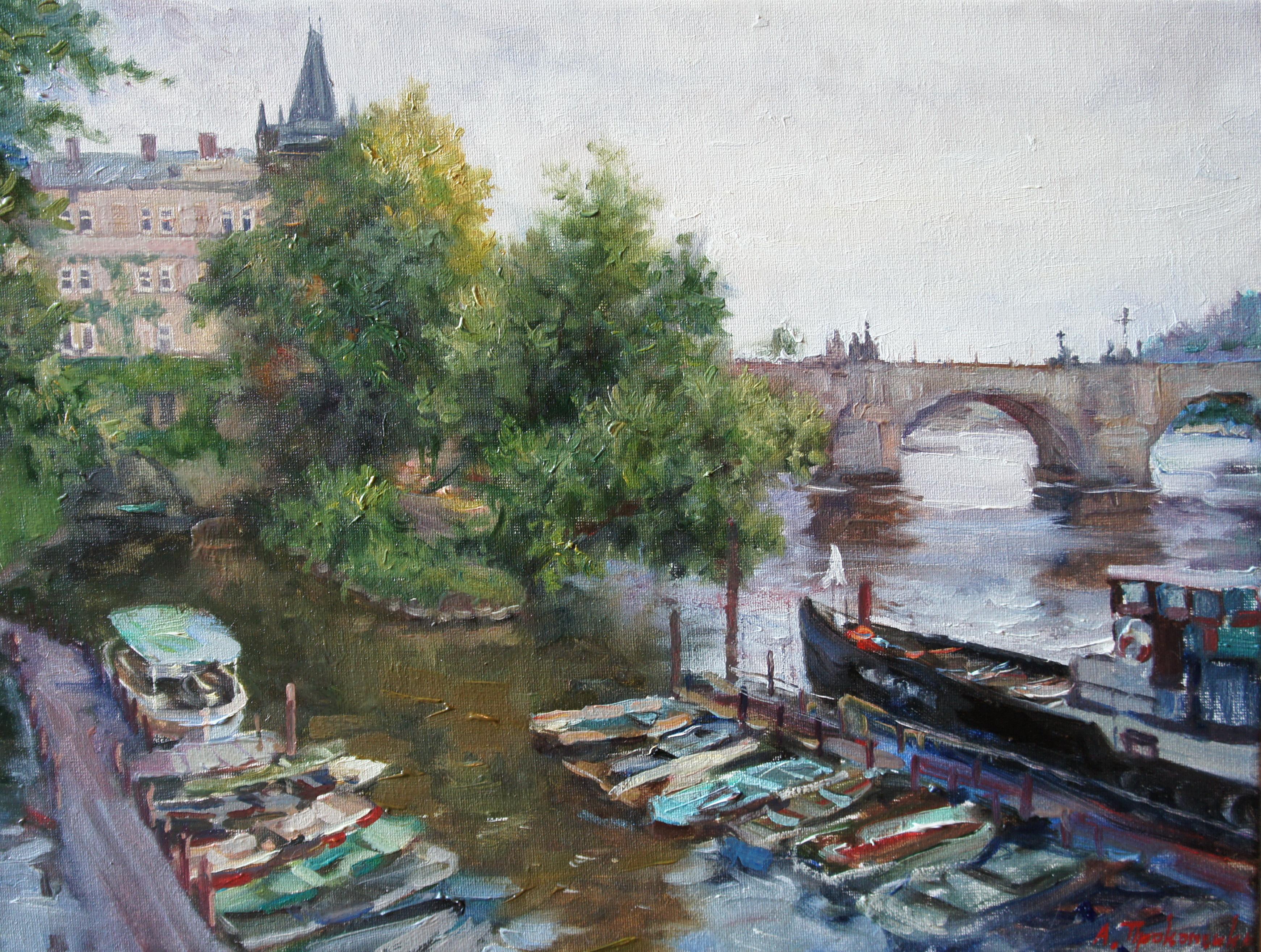 Прага Лодочная пристань х.м30х40 2012г.