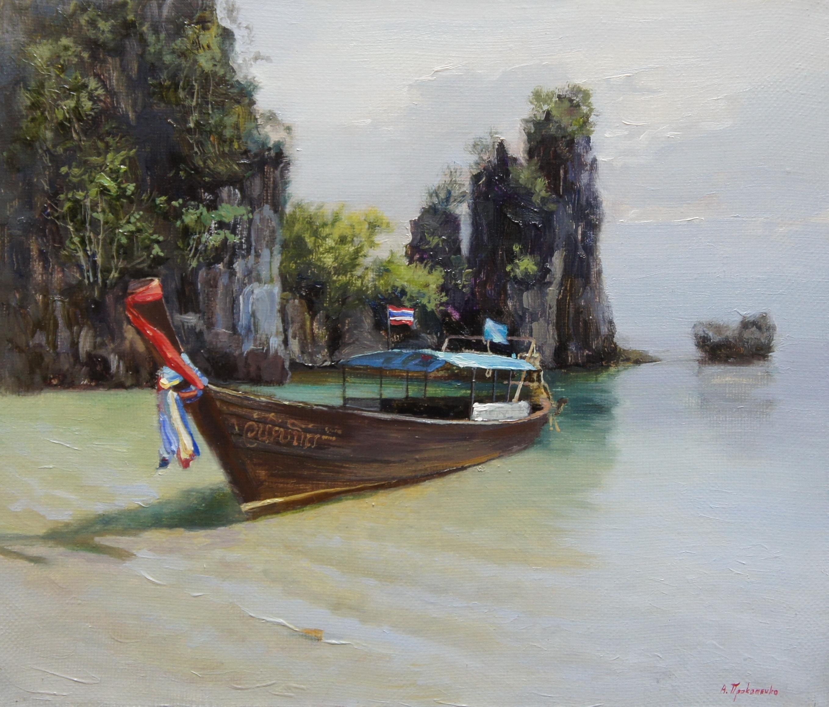 ,,Побережье Пхи Пхи. Таиланд,, х.м 30х35 2015г.