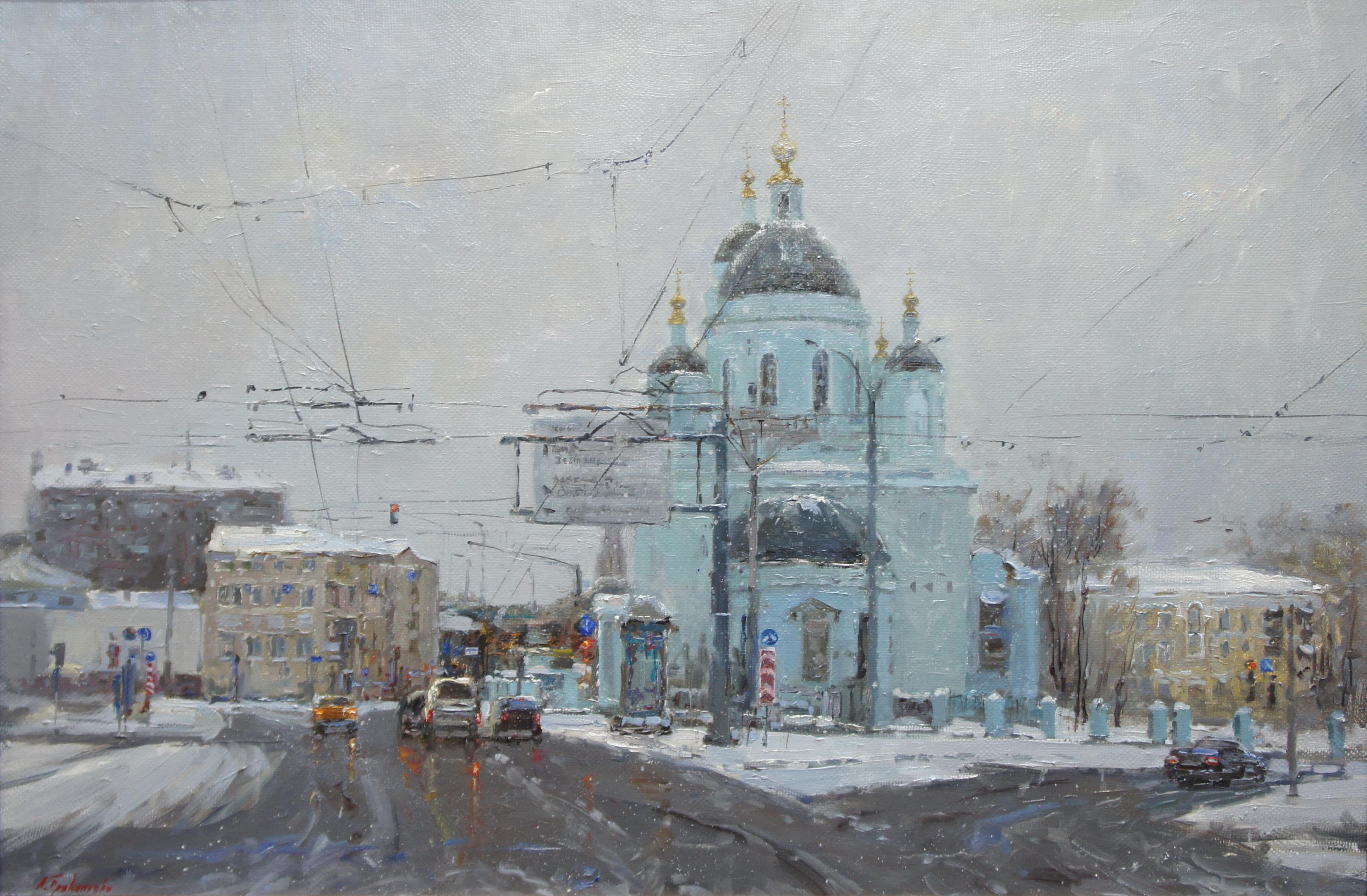 ,,Вид на Храм Сергия Радонежского,, х.м 60х90 2017г.
