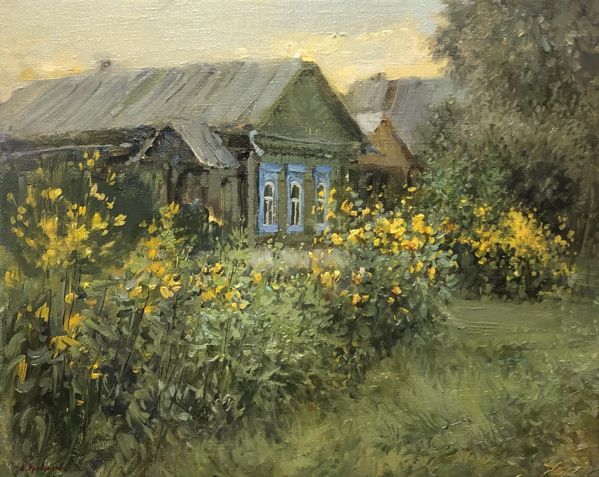 ,,Цветы у дома,, х.м 40х50 2019г.
