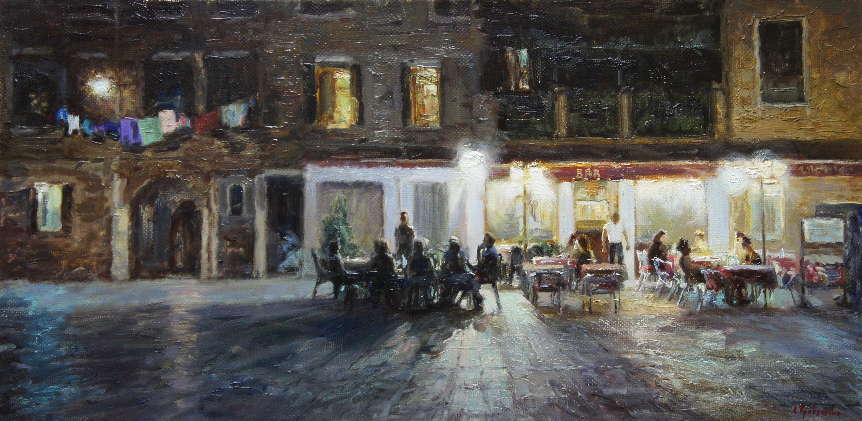 ,,Ночная жизнь Венеции,, х.м 40х80 2015г.