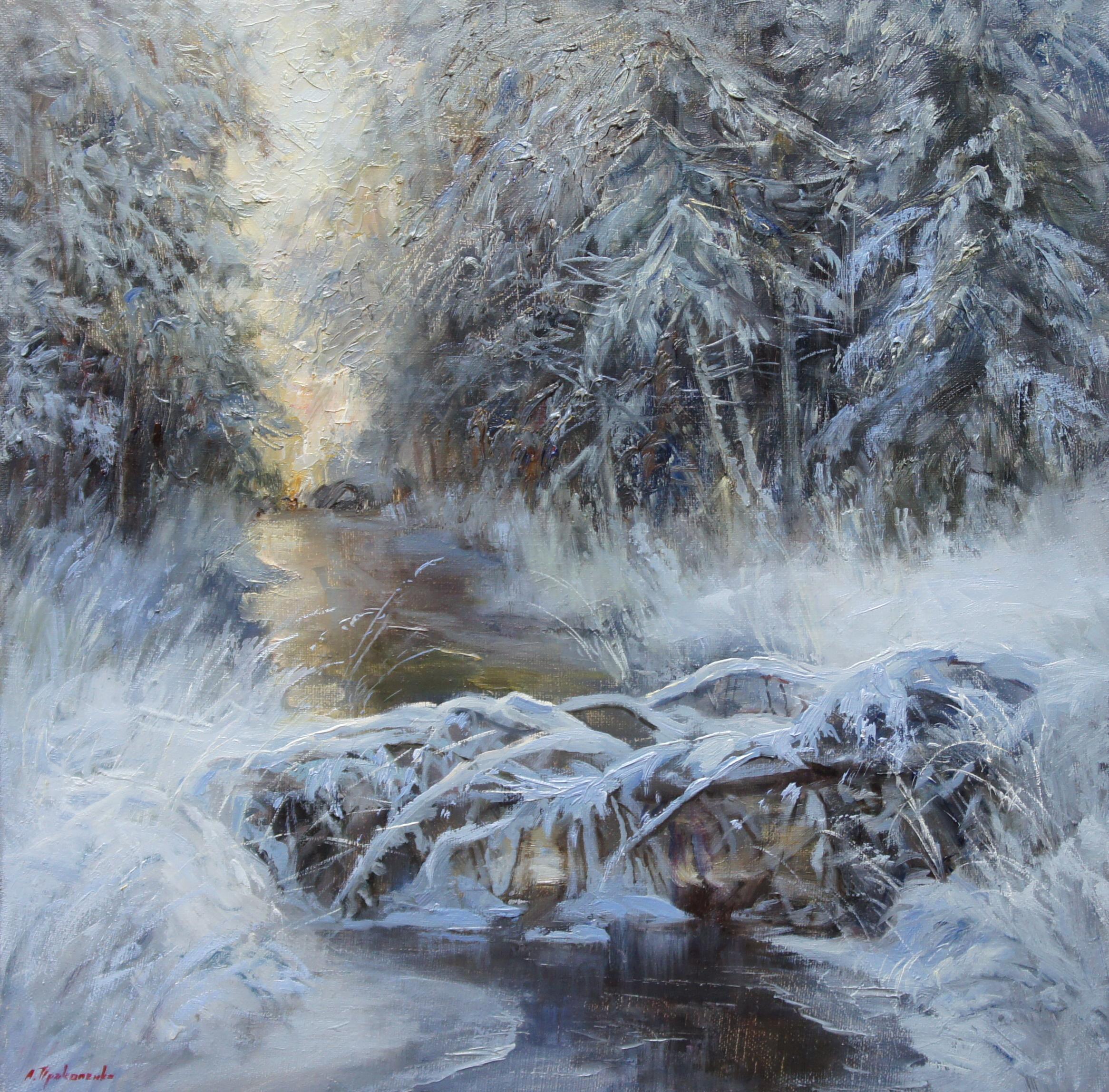 ,,Зимняя речка,, х.м 40х40 2015г.