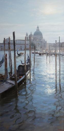 ,,Вид на Собор Санта-Мария. Венеция,, х.м 50х100 2013г.