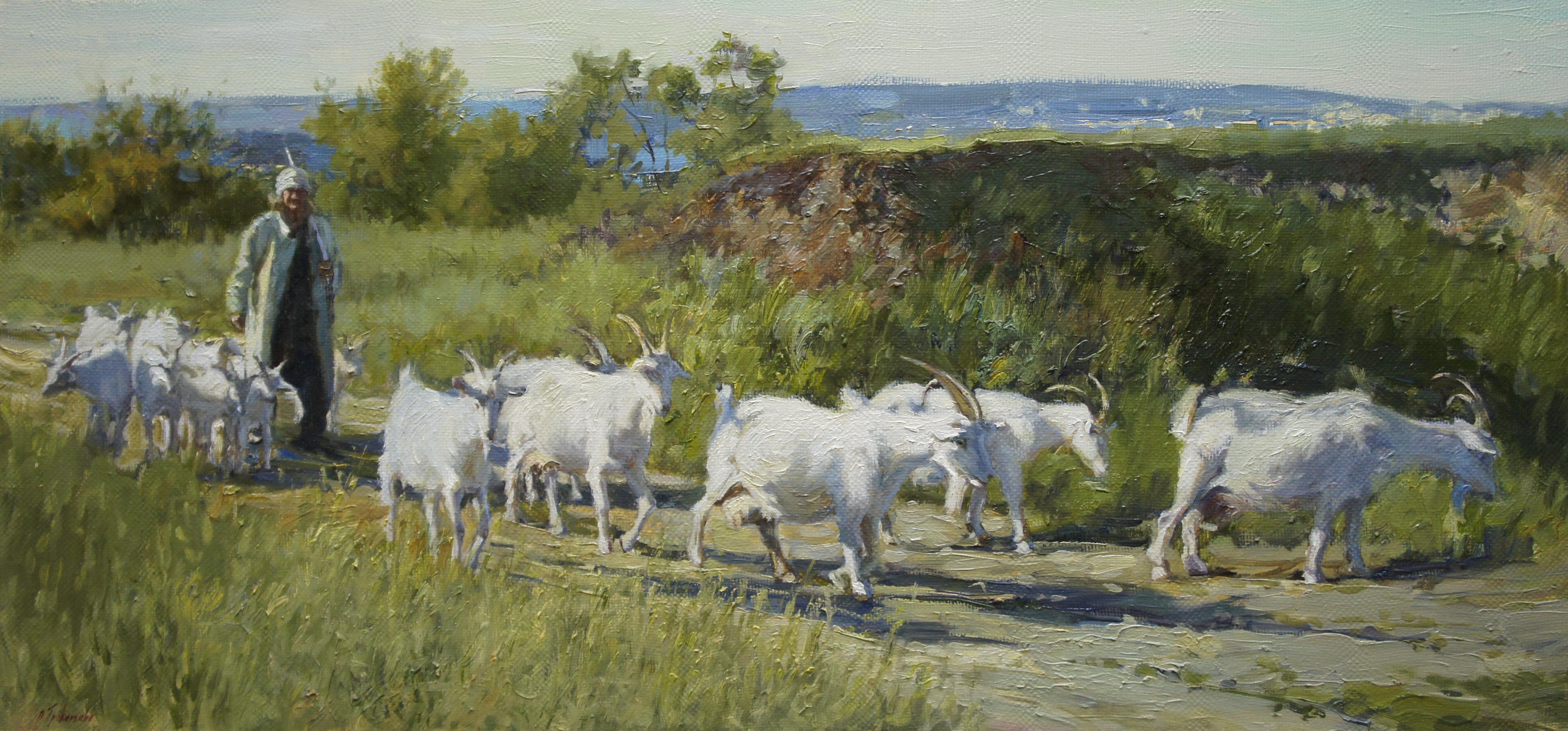 ,,Пастух и козы,, х.м 95х45 2016г.
