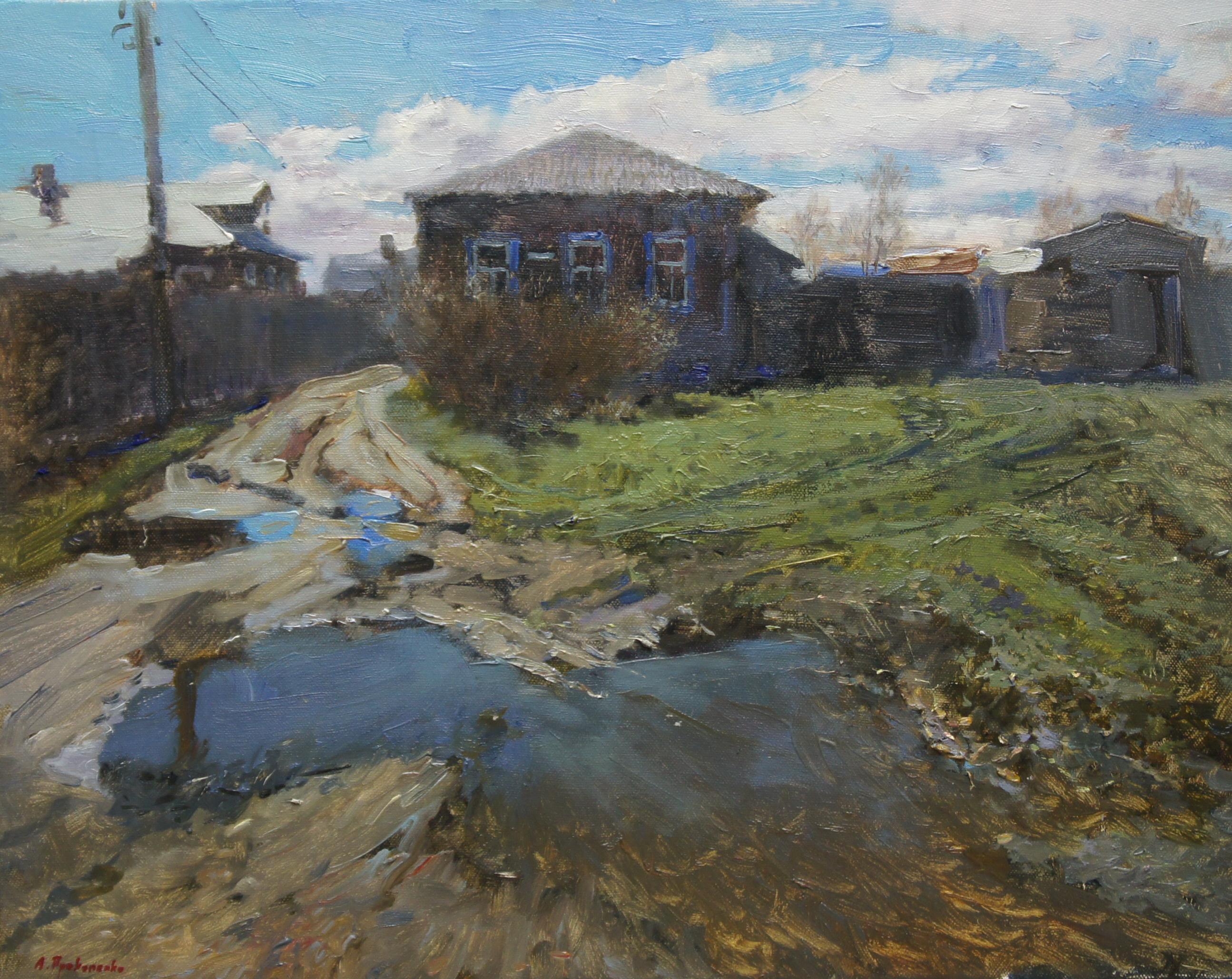 ,,Весенний дворик,, х.м 40х50 2018г.