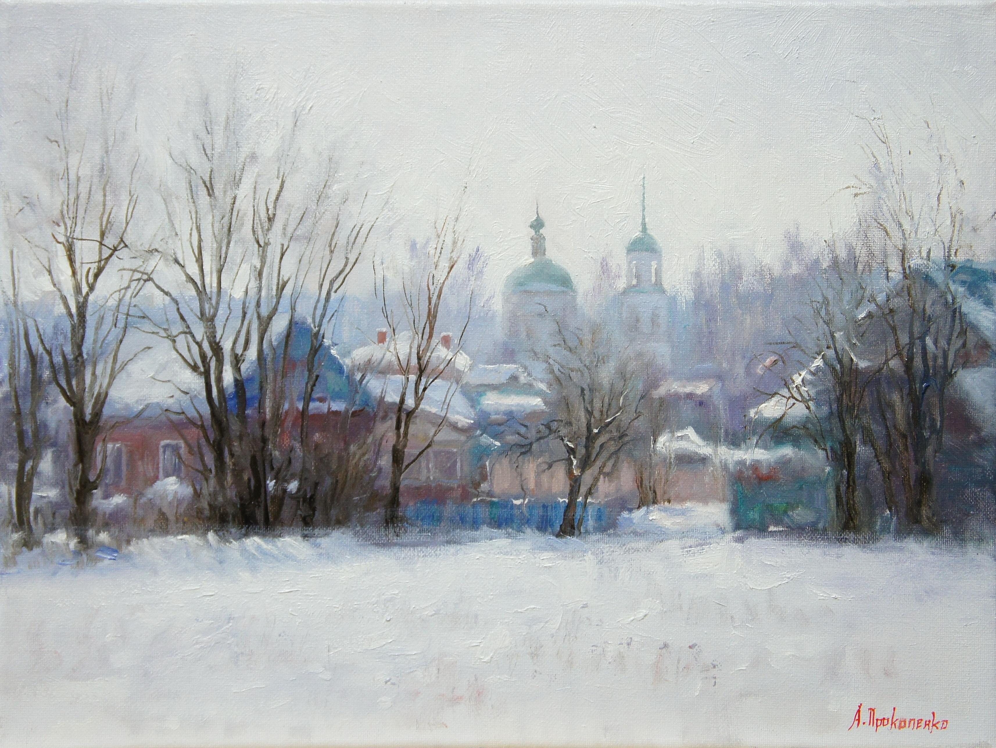 ,,Боровск. Начало весны,, х.м 30х40 2011г.