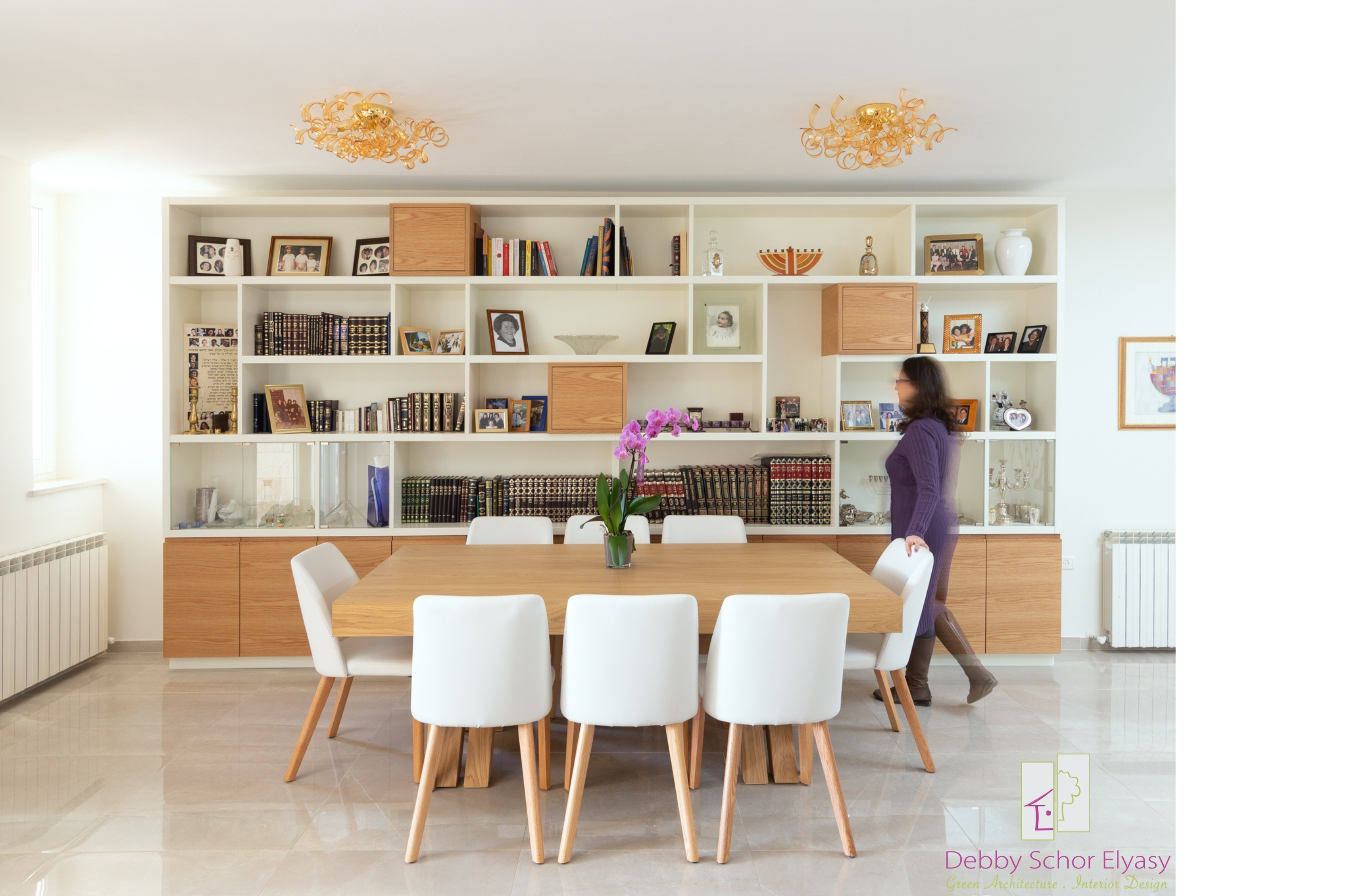 Dining room and bookcase
