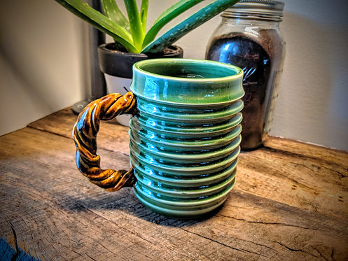 Coffee Mug in Green and Brown