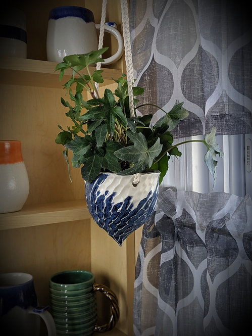 Carved Hanging Basket in Blue