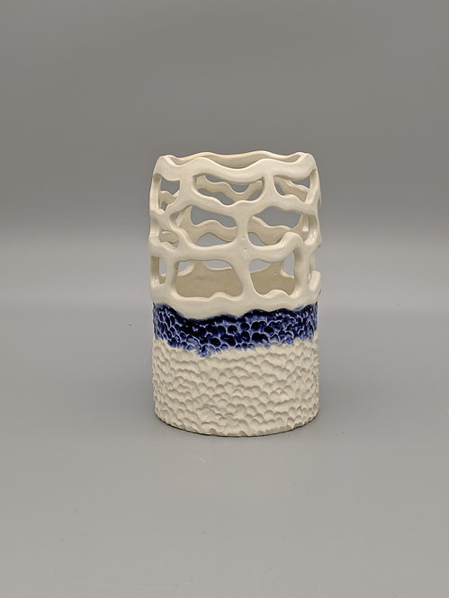 Pierced Cobalt Luminary/ Vase