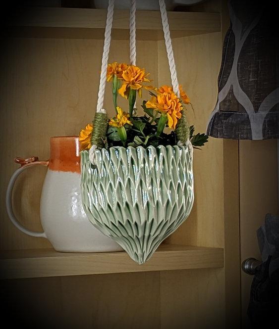 Carved Hanging Basket in Green