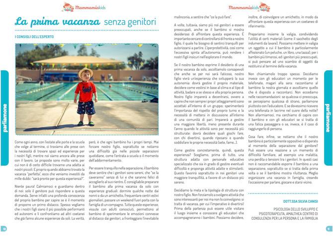 Prima vacanza da soli: un nostro articolo sulla rivista mammamiakids