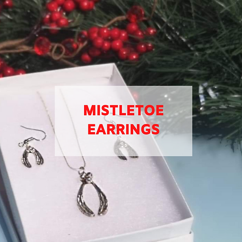 Silver Clay Mistletoe Earrings - 6th December