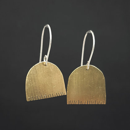 Edged Long Brass Earrings