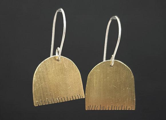 Edged Long Brass Earrings