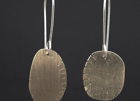 Fenced Oval Long Brass Earrings