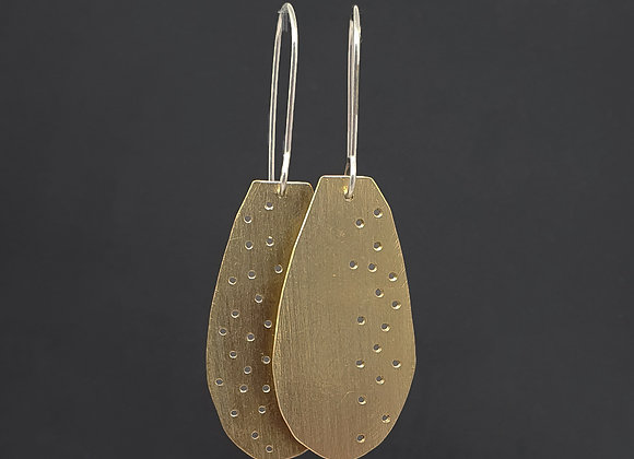 Division Long Brass Earrings