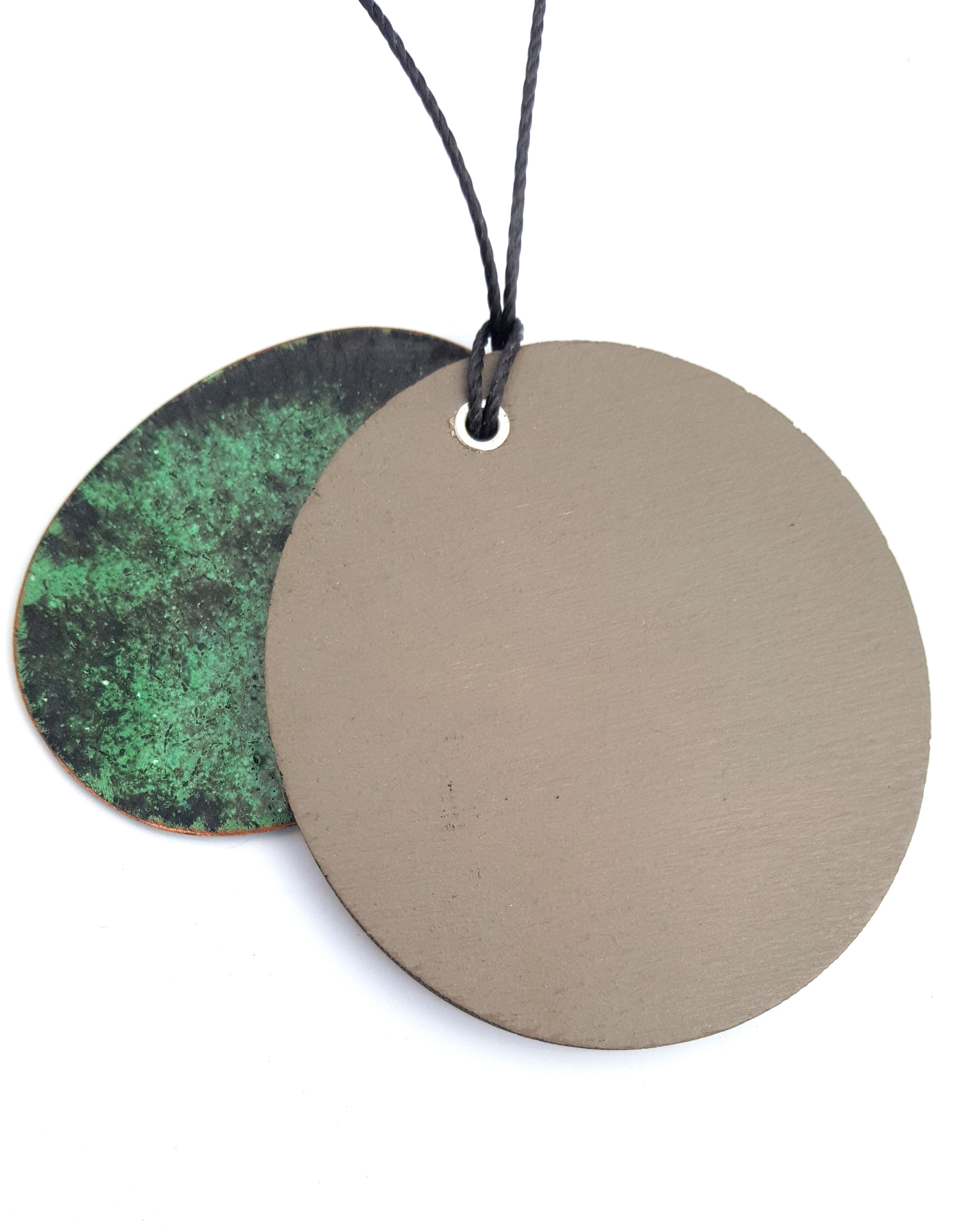 green and oak pendant