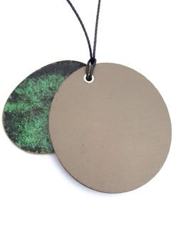 green and oak pendant