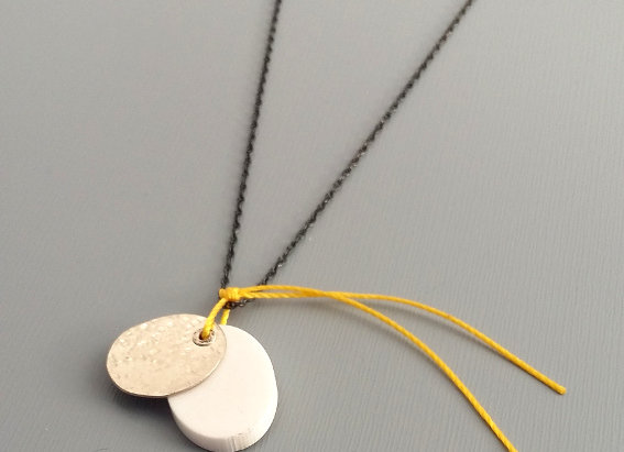 Perspex and Silver Pendant in White and Yellow