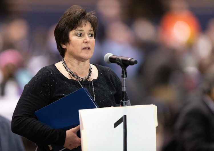 Dixie Brewster of the Great Plains Conference addresses the 2019 United Methodist General Conference in St. Louis.