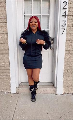 Black Ruffle Hoodie Dress