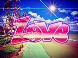 LOVE__使わなかったデザインをハワイの写真でお遊びで成仏👼その2✍💻 ここのビーチは最高だった🏝__#graffiti#graffiitiart_#streetartistry#art#ar