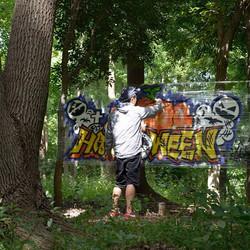 photo by ysk_#halloween#graffiti#streetart#numberd#グラフィティ#japanesegraffiti#ハロウィン#載せるの忘れてた#お菓子だけ配った