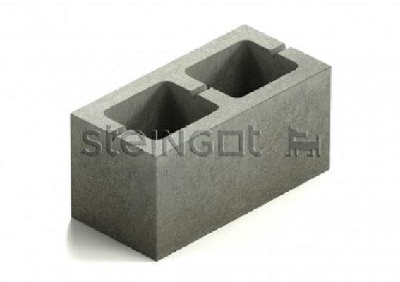 Блок стеновой 2-х пустотный бетонный