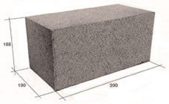 Блок стеновой Полнотелый пескобетонный