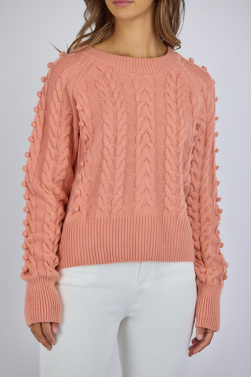 Round Cable Knit Bobble Jumper by Style State