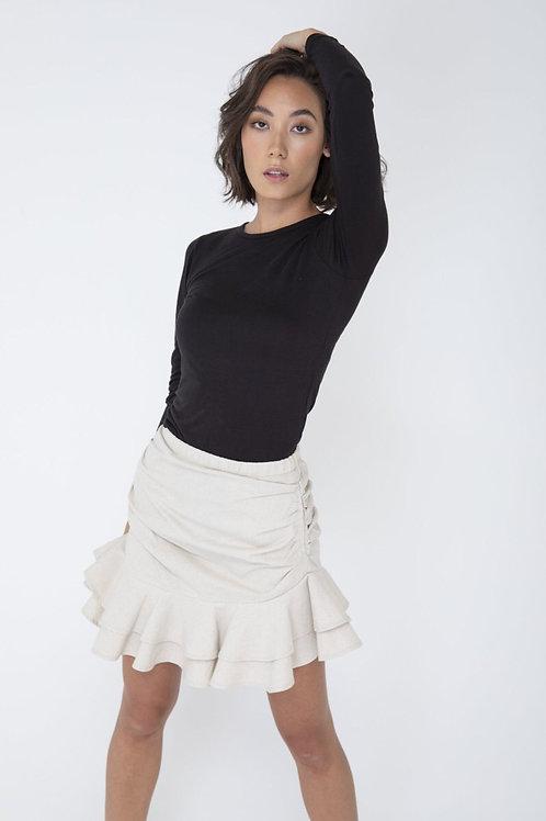 Caznic Genesis Ruffled Linen Skirt (black or unbleached cream)