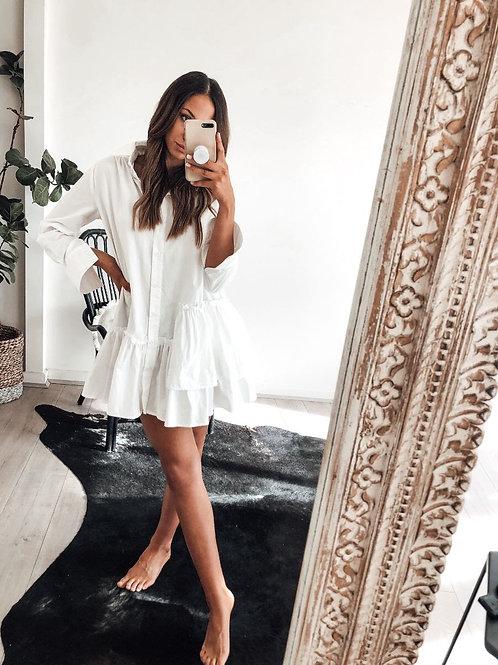 Lilly Lane White Shirt  Cotton Dress