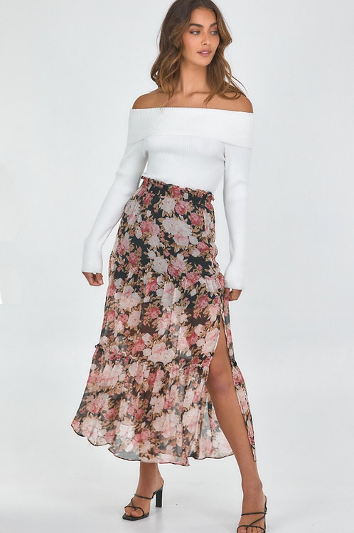 Floral Tiered Waist Maxi Skirt by Style State