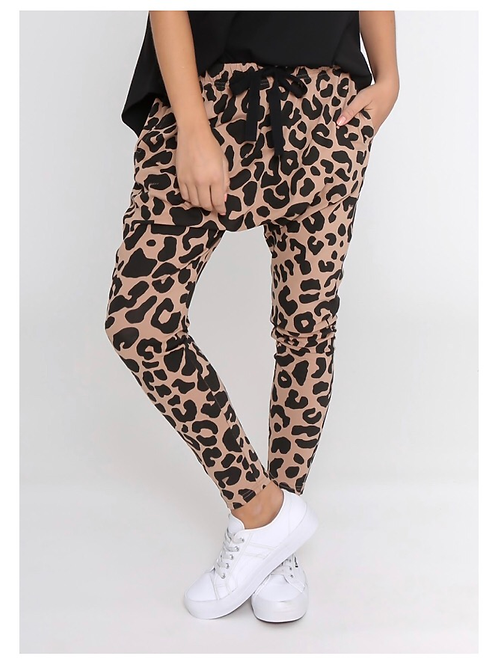 Leoni Leopard Tan Jogger Cotton