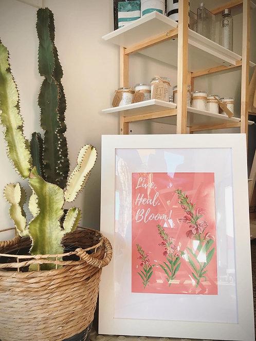 Live. Heal. Bloom! Unique Grateful Artwork Framed