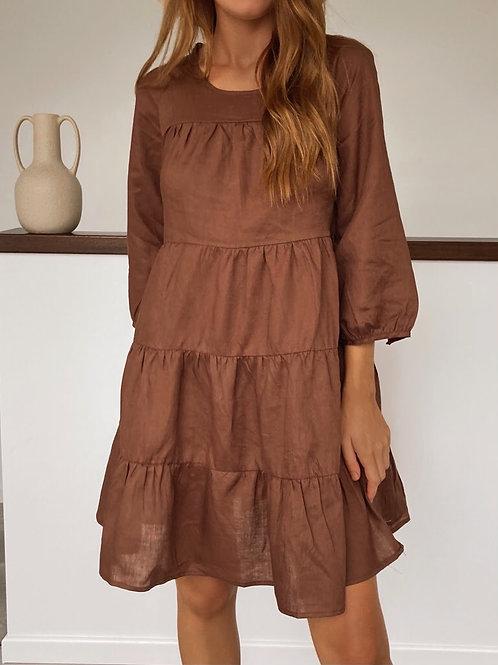Lara Chocolate 100% Linen Dress