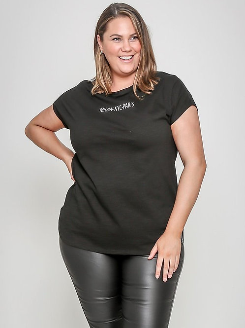 Milan NYC Paris Cotton Tee by Leoni Curves (16-22)