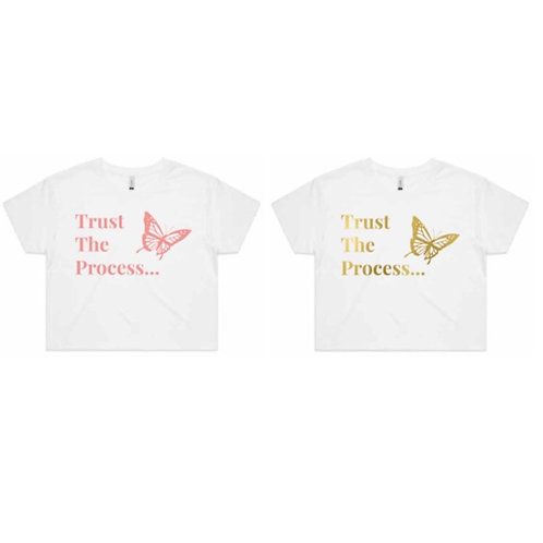 Grateful Trust The Process Kids Tee pink or gold text (Butterfly Collection)