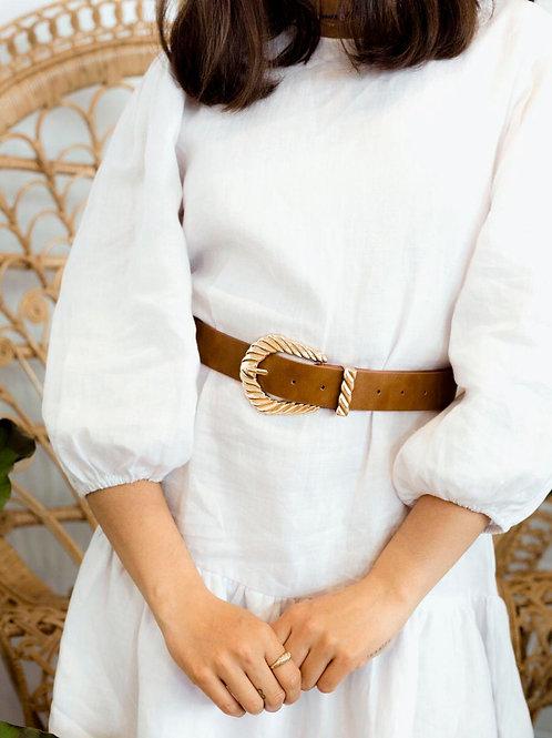 Amelia Twisted Buckle Detail Belt Tan by Angels Whisper