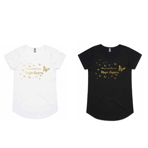 Grateful Magic Happens Kids Tees black or white (Butterfly Collection)