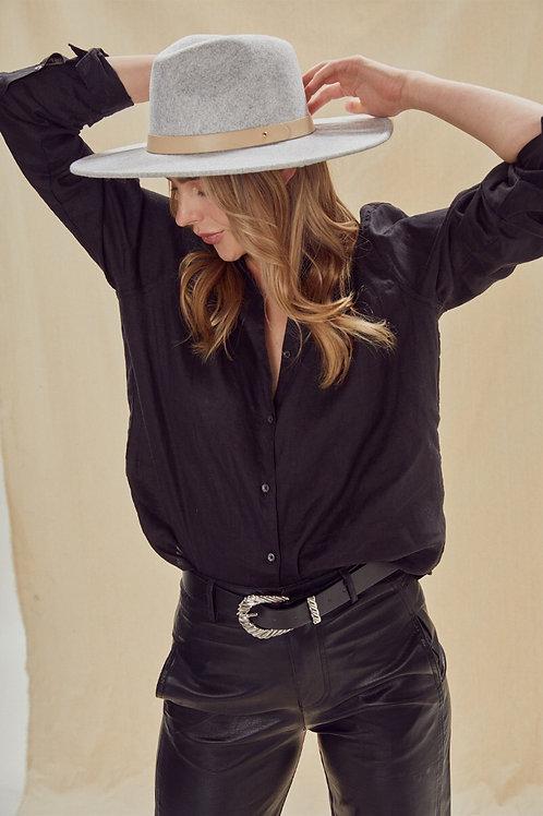 Jendayi Federa Felt Hat with Leather Trim