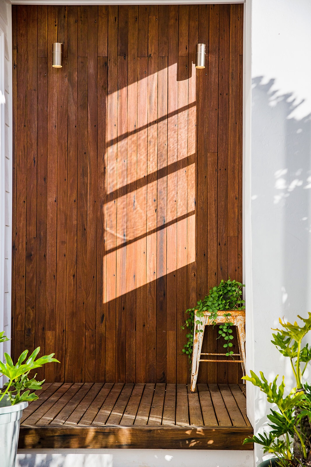Up-cycled timber feature entry